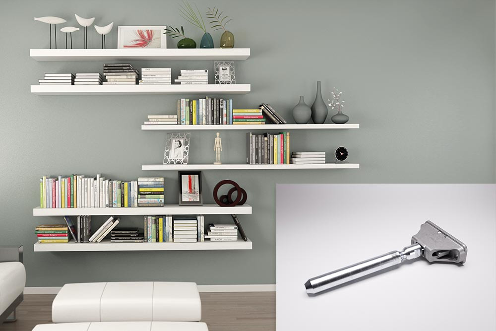 Triade concealed wood shelving system