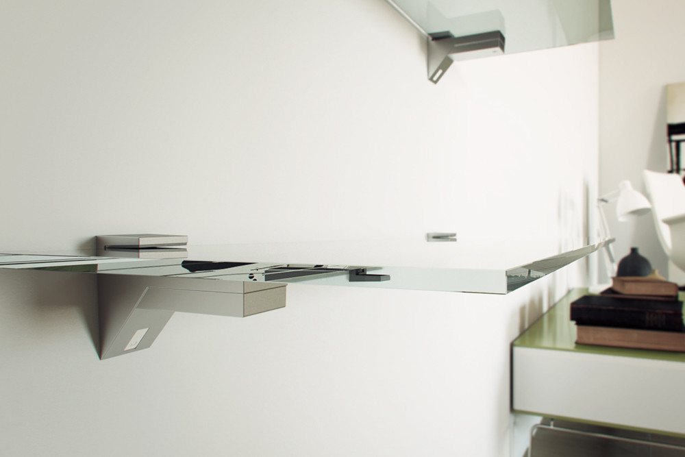Kalabrone wood and glass shelving system